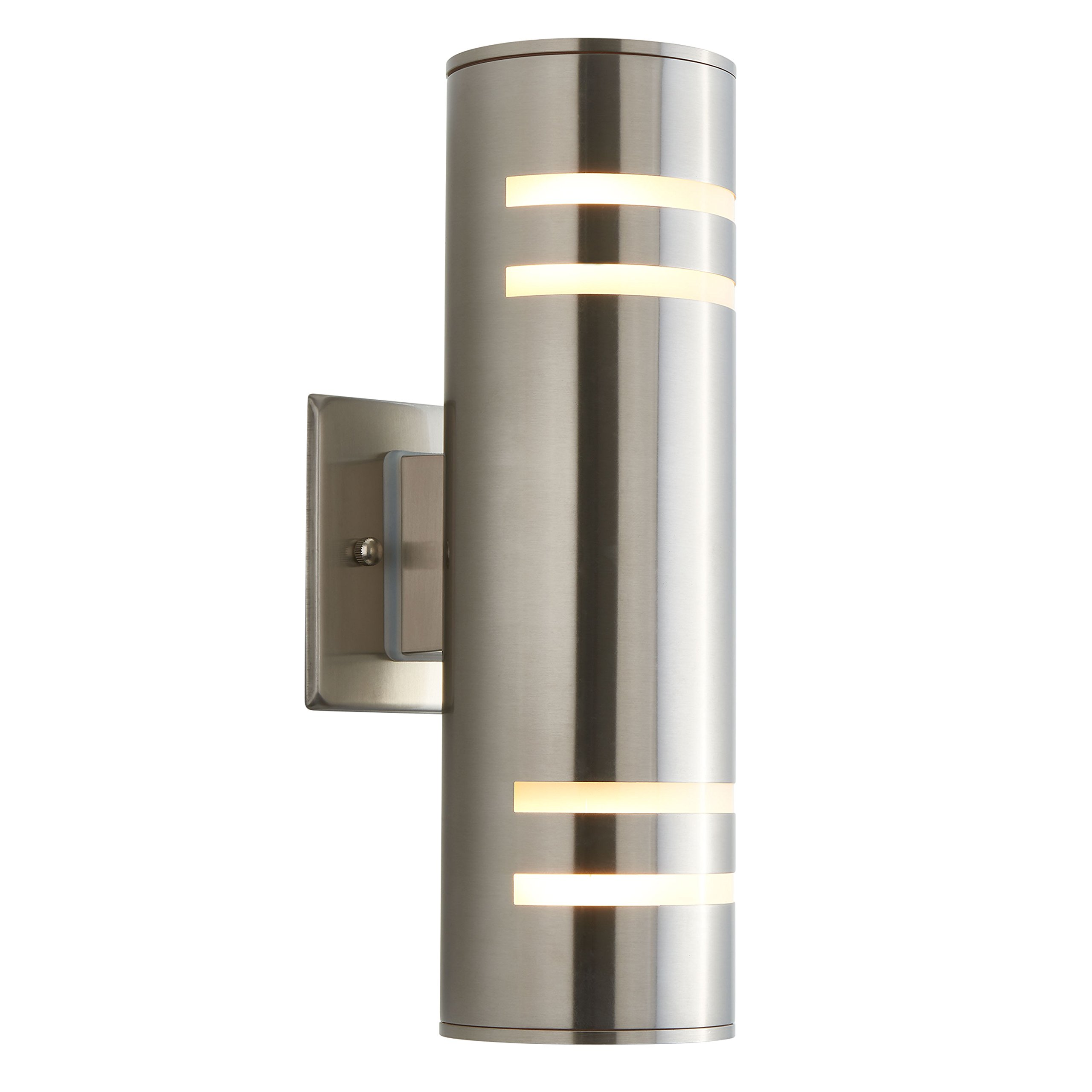 Artika 77-888A Cca V3 Modern 13'' Outdoor Cylinder Light Stainless Steel Weather Resistant, Bulbs Included, Brushed Steel