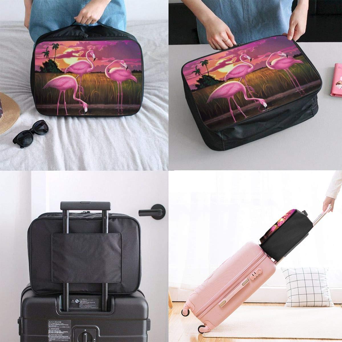 Flamingo Blossom Travel Bag Cute Luggage Bags Duffle Bag Large Capacity Travel Organizer Bag