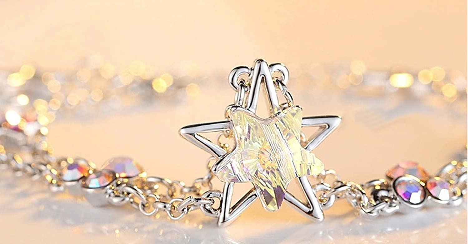 The Starry Night Austrian Crystal Lucky Star Fashion Shining 18K Charming Bracelet 6.61 Color White