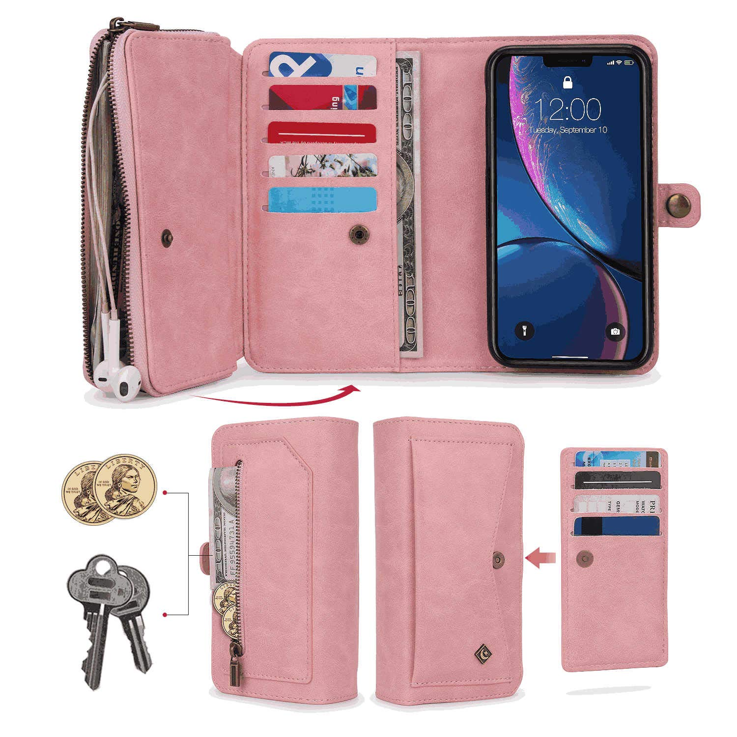 iPhone 11 Pro Max Flip Case Cover for iPhone 11 Pro Max Leather Kickstand Wallet Cover Card Holders Extra-Durable Business with Free Waterproof-Bag Absorbing