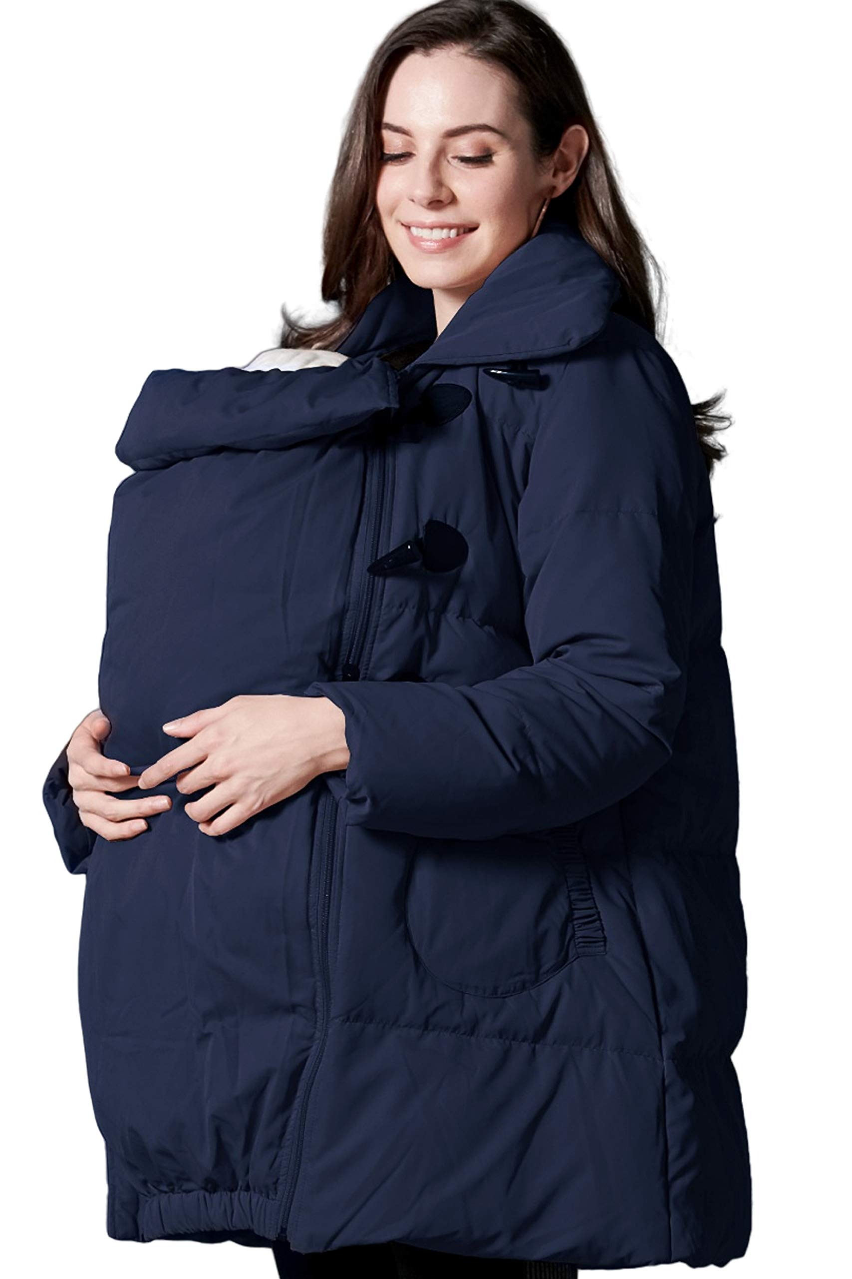 Sweet Mommy Maternity and Babywearing Down Duffle Coat with Babywearing Pouch Navy by Sweet Mommy