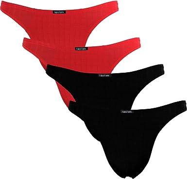 TALLA M. Fabio Farini - 4-Pack de Tangas Masculinas para Hombres en Rojo o Negro
