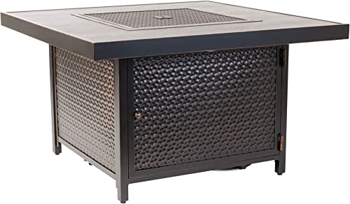 Fire Sense Weyland Square Aluminum LPG Fire Pit Table