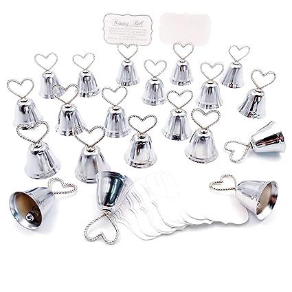 JZK 20 x Sostenedor Campana corazón Pinzas de Tarjeta para Boda cumpleaños Fiesta Baby Shower Navidad