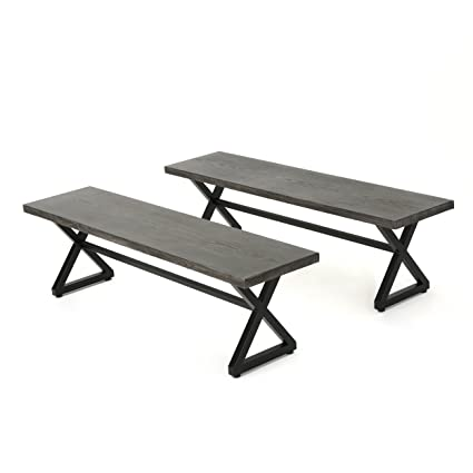 Peachy Christopher Knight Home Rolando Outdoor Grey Aluminum Dining Bench With Black Steel Frame Set Of 2 Alphanode Cool Chair Designs And Ideas Alphanodeonline