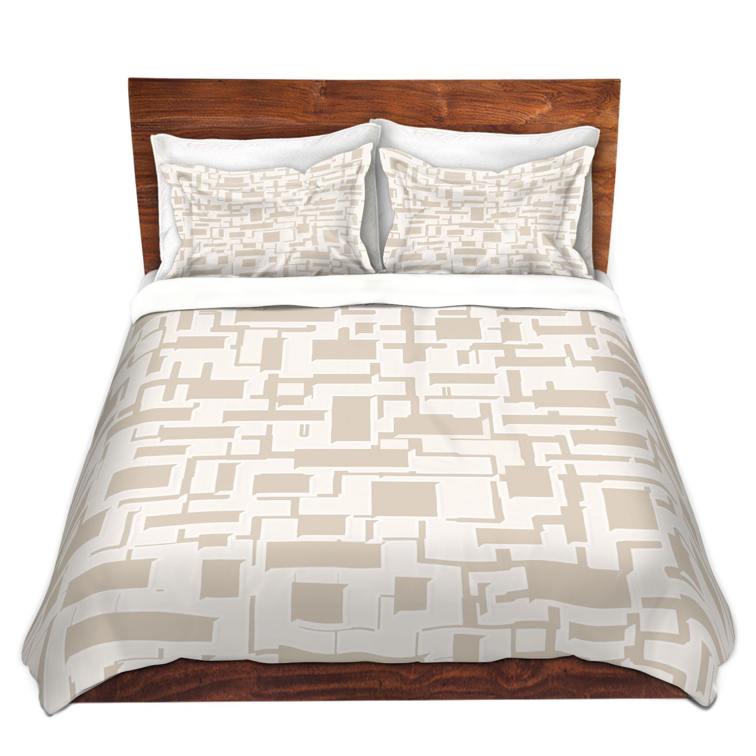 "DiaNoche Designs Duvet Cover Brushed Twill Twin, Queen, King SETs by Susie Kunzelman Mid Century Cubed Simple King Duvet ONLY 88"" x 104"""