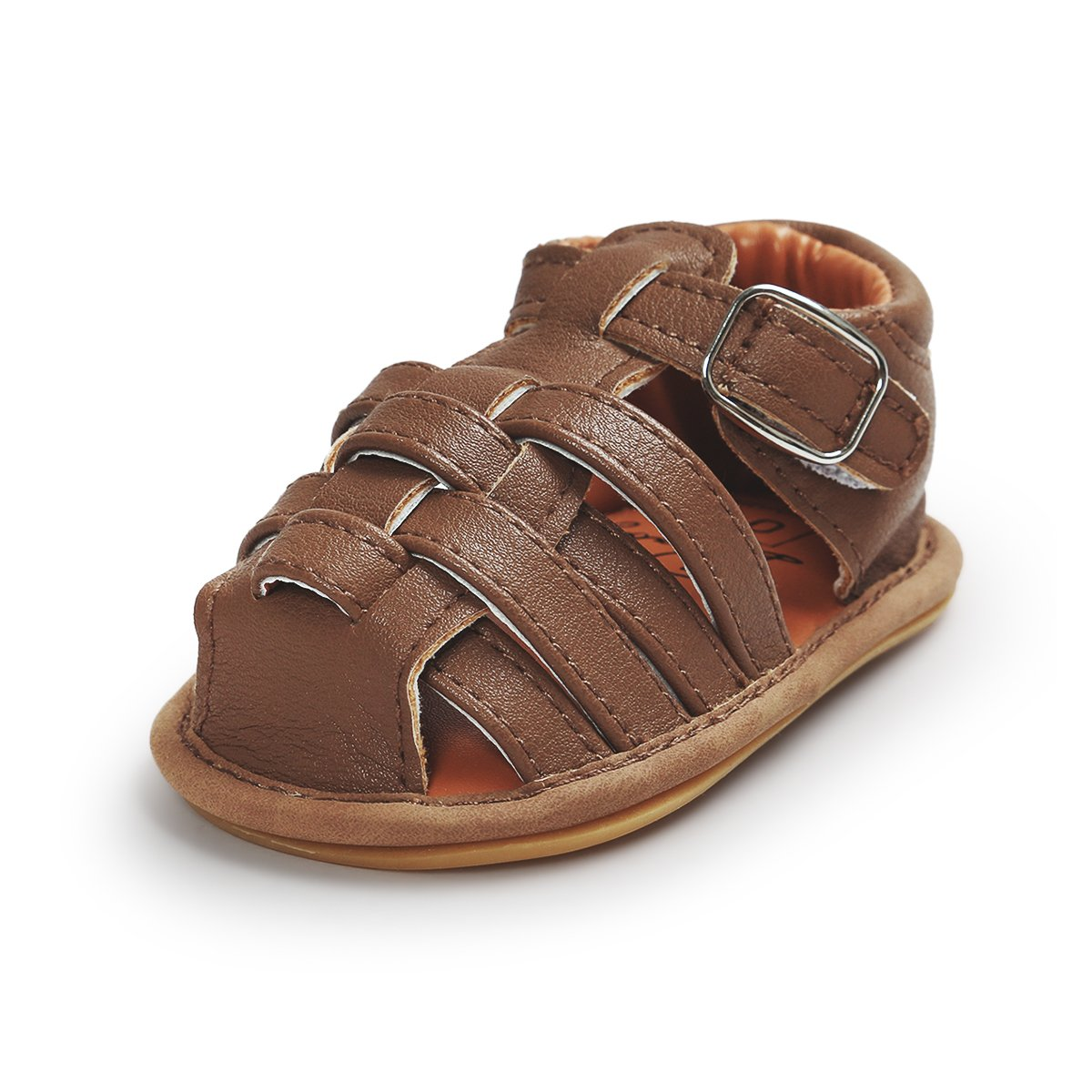 Kuner Infant Baby Boys Girls Pu Leather Rubber Sole Anti-Slip Summer Sandals First Walkers Shoes KR-7169