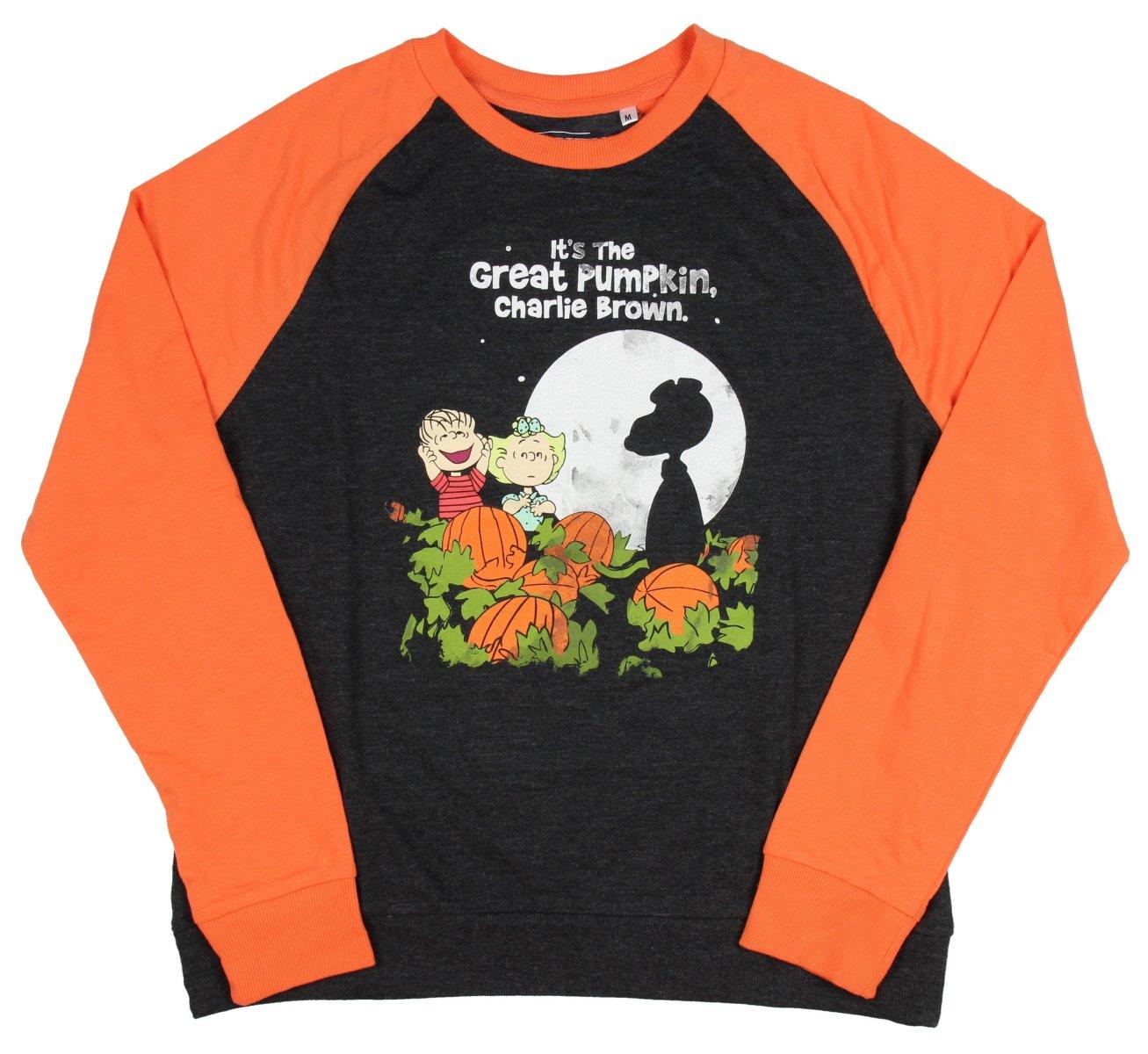 Peanuts Juniors It's The Great Pumpkin, Charlie Brown Raglan Pullover Sweatshirt (XL)