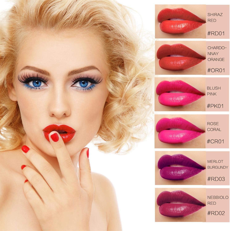 Barra de Labios - 6 Colores Lápiz Labial Líquido Acabado Mate Brillo de Labios Estilo de Vino Tinto Impermeable Pintado de Labios para Dama