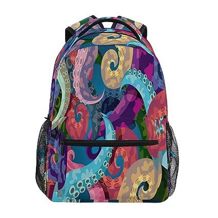 ZZKKO Mochilas para pulpo coloridas para colegio, libros, viajes, senderismo, camping,
