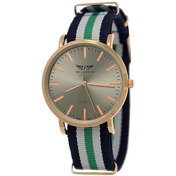 Elegante NY London Slim Unisex Mujer de reloj de hombre reloj analógico de cuarzo textil Nylon