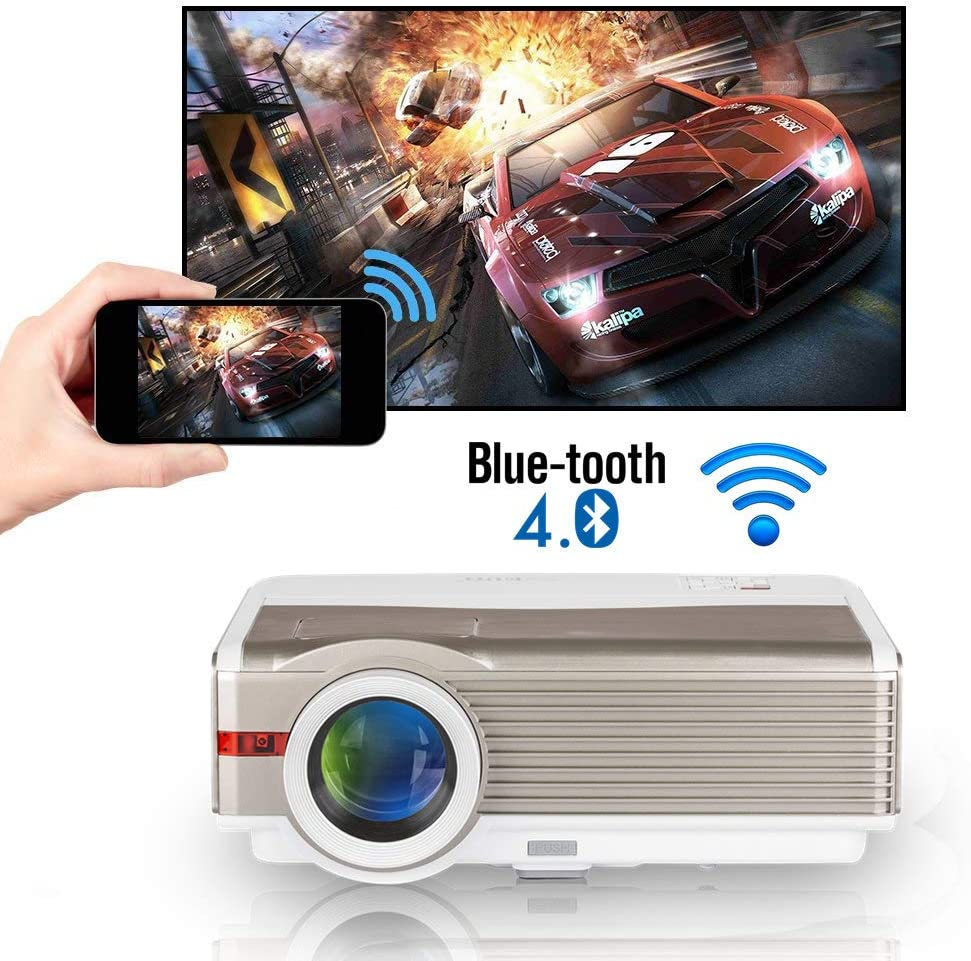 Wi-Fi Home Projector, 6000 Lumen Bluetooth LCD LED HD Video Projector for Indoor Theater Outdoor Movies, Wireless Mirroring HDMI USB, Support 1080P for iOS/Android /Laptop /PC /Windows /DVD Player