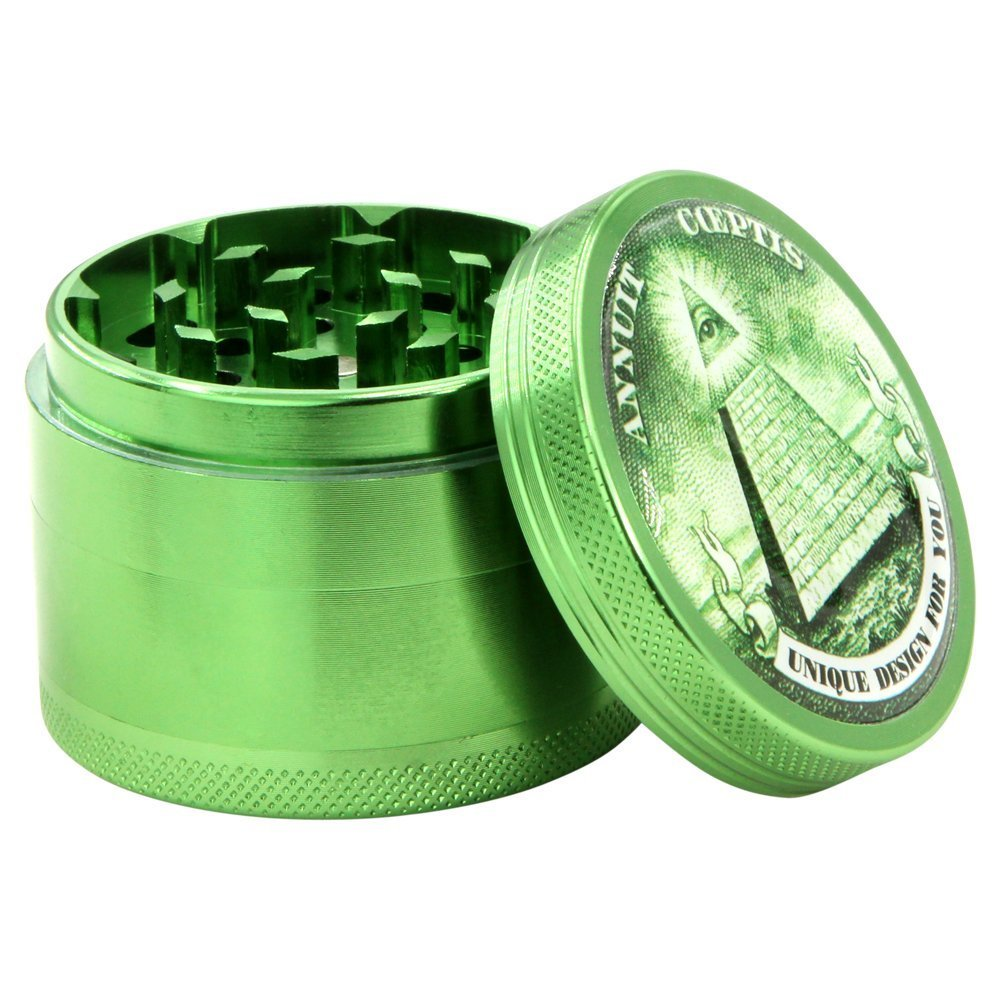 DCOU New Design Premium Aluminum Herb Grinder Tobacco Spice Grinder with Pollen Catcher and Scraper included - 2.2 Inches, 4 Piece 55GOD