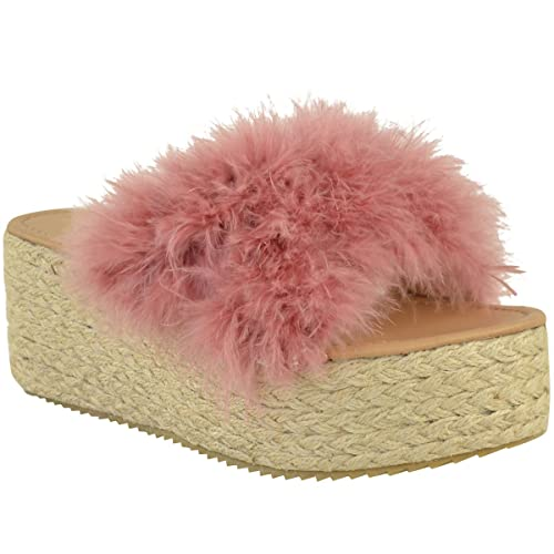 Fashion Thirsty Mujer Alpargatas de Meter Sandalias de Cuña Plataforma Plana Piel Sintética Zapatos Número GB - Rosa Pastel Piel Sintética/Marabú, ...