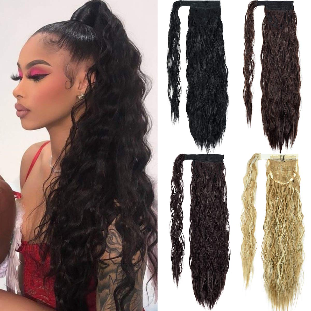 Amazon Com Emerlily Clip In Ponytail Extension Long Wave Pony Tail Hair Extensions 22 Inch Wrap Around Ponytails For Women Light Brown Beauty