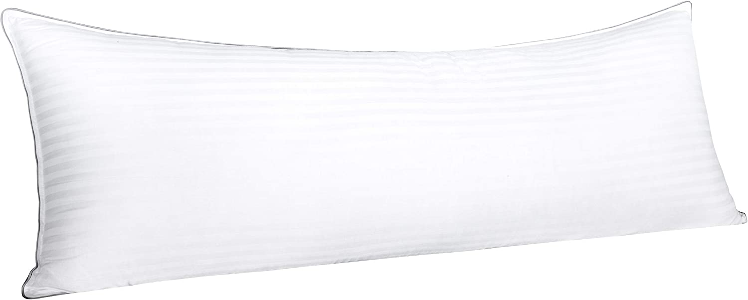 """FLXXIE Body Cotton Down Alternative Bed Pillow, Hypoallergenic and Breathable Sleeping Pillow, 20"""" x 54"""""""