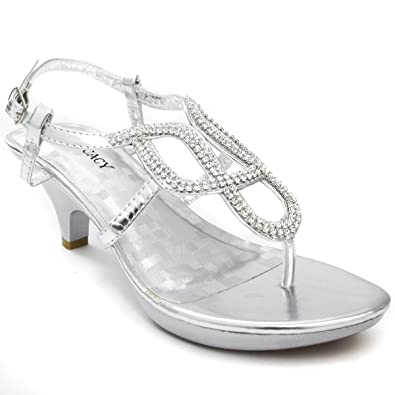 f8c8762ee408 V-Luxury Womens 32-ANGEL53 Open Toe Med Low Heel Sandal Bridal Shoes