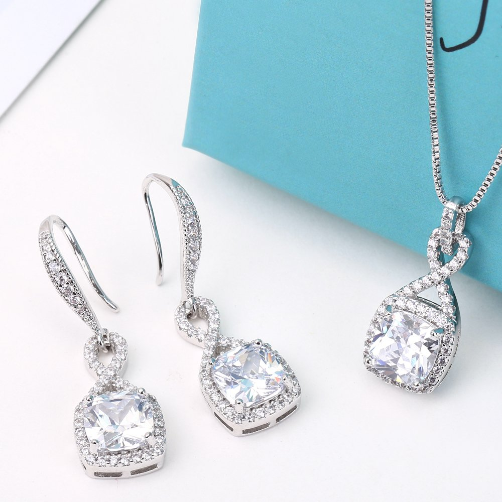 AMYJANE Crystal Jewelry Set for Women - Sterling Silver Square Cubic Zirconia CZ Bridal Pendant Necklace Earrings Set for Wedding Bride Bridesmaids Birthstone Infinity Jewelry Set by AMYJANE (Image #5)