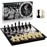 """Chess Armory Travel Chess Set 9.5"""" x 9.5""""- Plastic Chess Set for Kids with Folding Magnetic Chess Board, Staunton Chess Piece"""