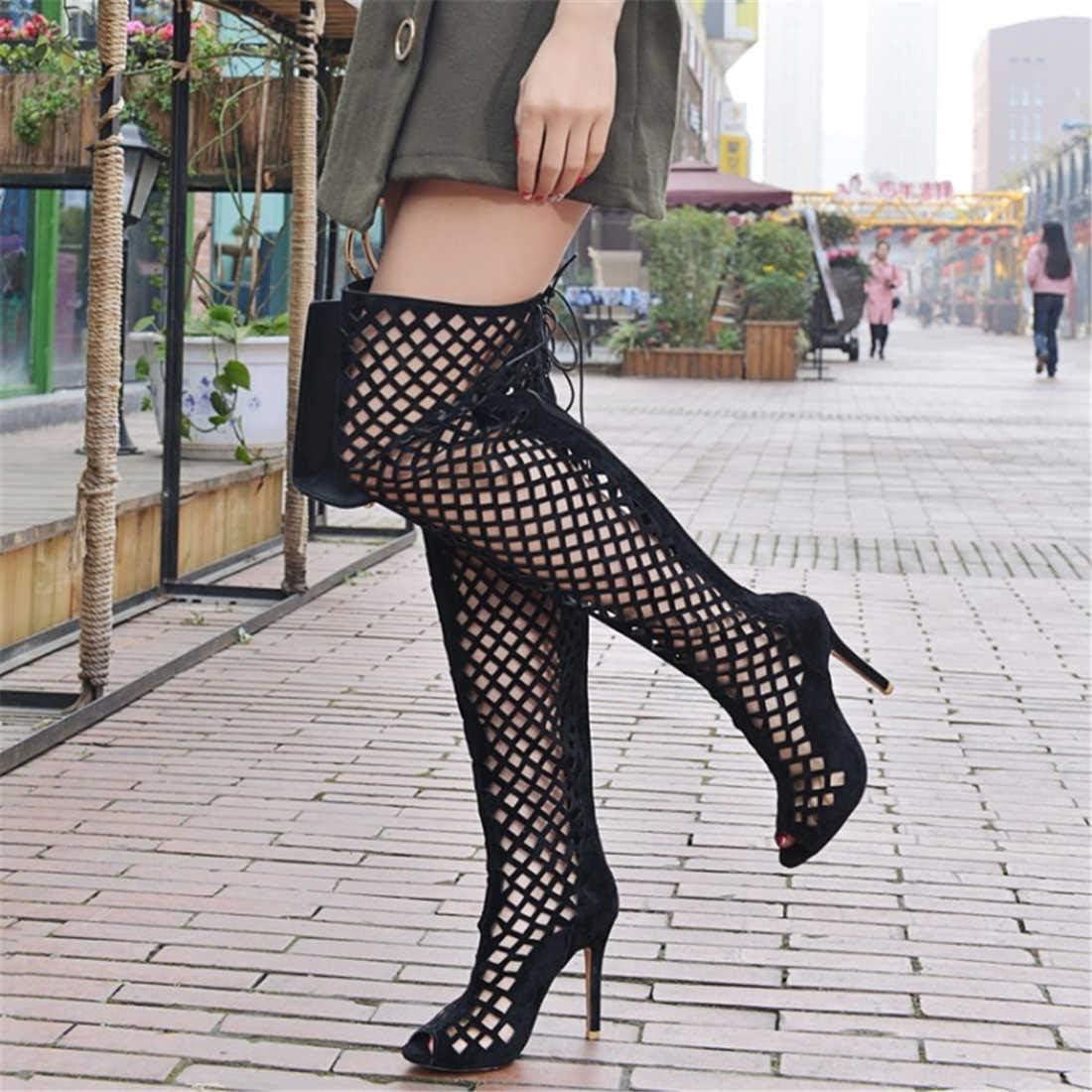 Cuissardes Femmes Net Fil Peep Toe Party Dress Chaussures 10CM Stiletto Mesh Grande Taille Chevalier Boot EU Taille 32-46 Black