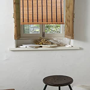 """THY COLLECTIBLES Natural Bamboo Roll Up Window Blind Sun Shade WB-SUN318 (24""""X72"""")"""