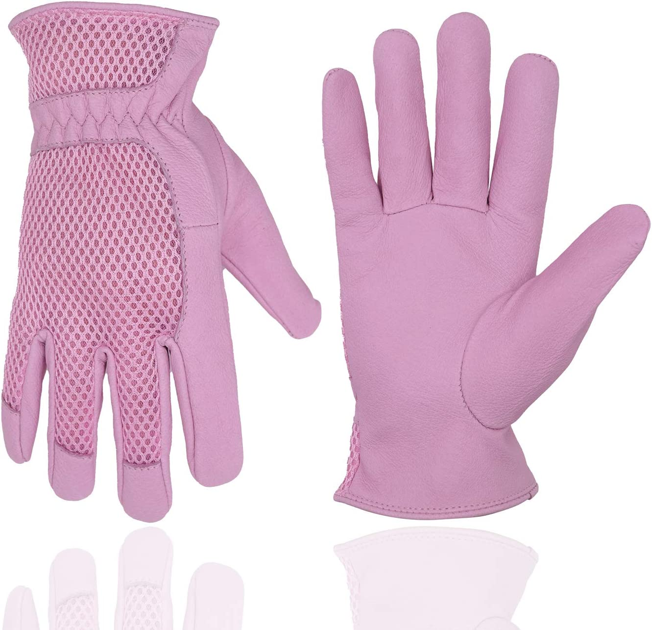 Pigskin Leather women Gardening Gloves,Stretchable Tough Working Glove,3D Mesh Comfort Fit,Comfort and Breathable Design for rose garden (Small, Pink)