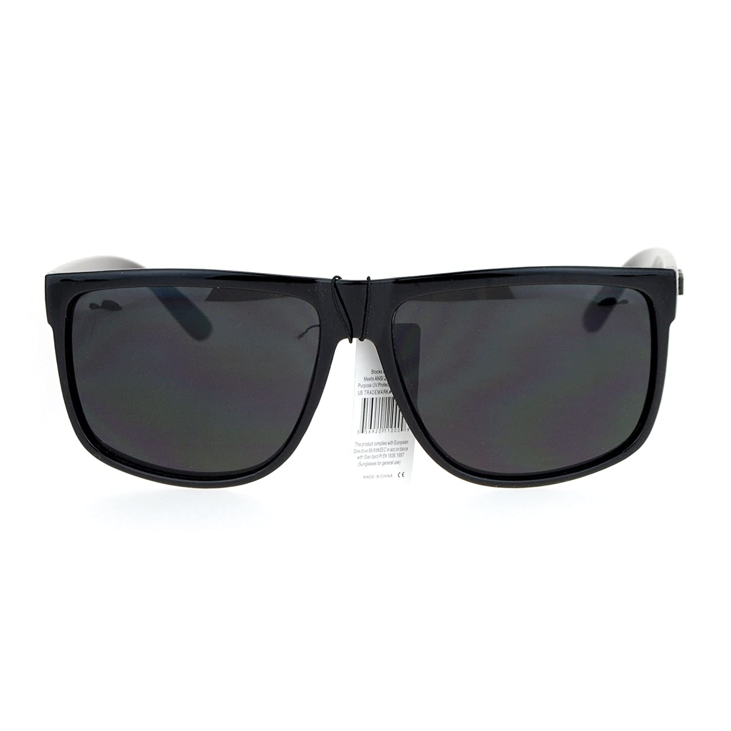 55ddd50c0 Amazon.com: KUSH Sunglasses Classic Glossy Black Square Frame Unisex  Fashion Shades UV 400: Clothing