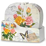 Vintage Rose Coasters - Set of 6 Drink Coasters with Holder - Assorted Butterfly and Rose Design -