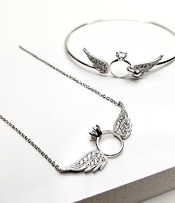 CS-DB Pendants Angel Wings Design Silver Necklaces
