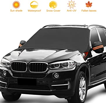 Snow//Rain//Frost//UV Full Protection Updated Car Windshield Snow Shade Sunshade Snow Cover Waterproof Winter Cover for Car Truck SUV with Side Mirror Covers