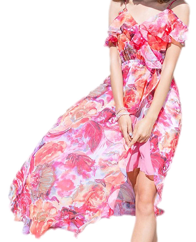 erdbeerloft - Damen luftiges Strand Kleid Tunika asymmetrisch mit Rosen Print, XS-M, Mehrfarbig