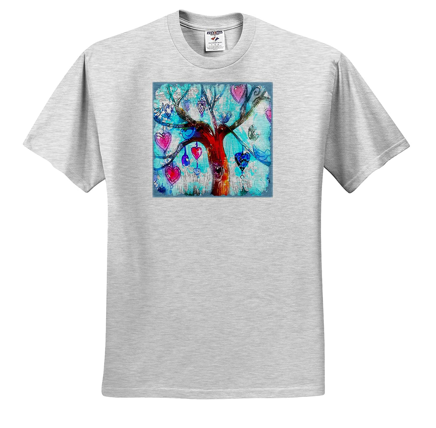 3dRose Lens Art by Florene Image of Painting of Hearts and Bird On A Tree T-Shirts Tree Art