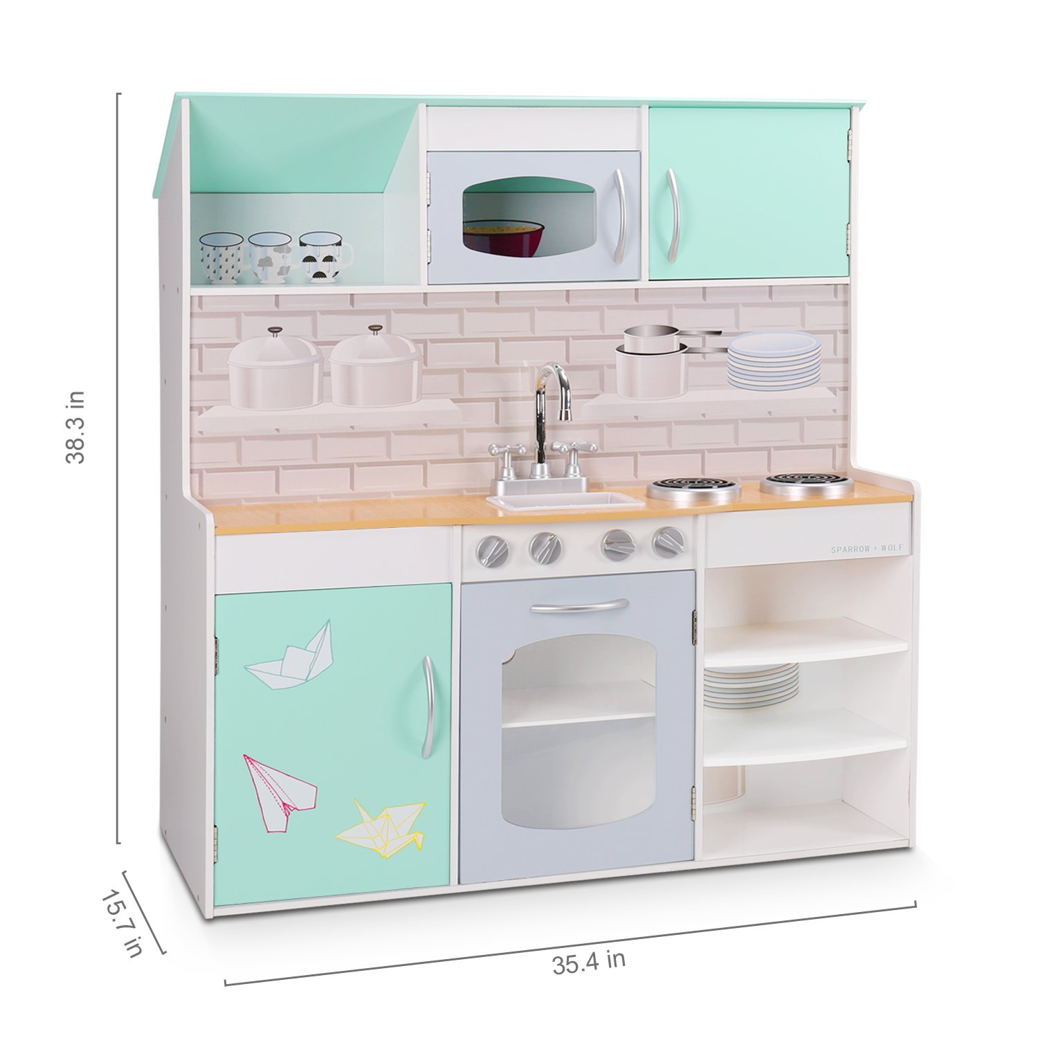 wildbird care kids dollhouse kitchen double side wooden playsets