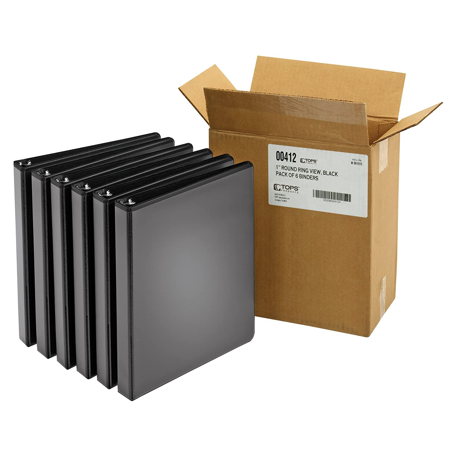 Cardinal ClearVue Round Ring View Binders, 1-Inch Capacity, Black, Case of 6 Binders (00412) TOPS Business Forms Inc.