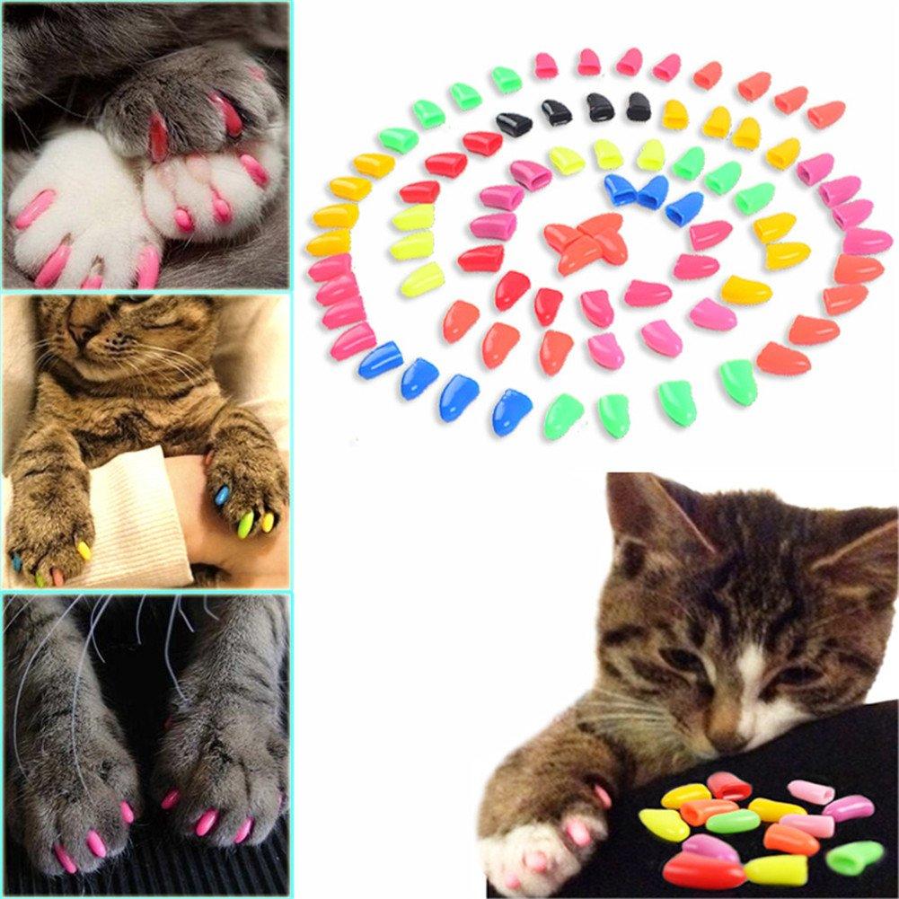 100Pcs Colorful Dog Nail Claw Cap + 5Pcs Adhesive Glue + 5Pcs Applicator Soft Rubber Pet Nail Cover by Jomohoon (Image #7)