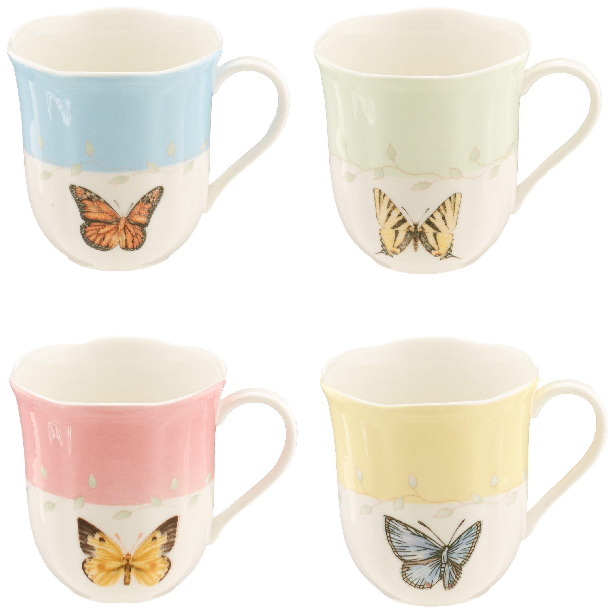 Lenox Butterfly Meadow Mug Set of 4 White Dinnerware