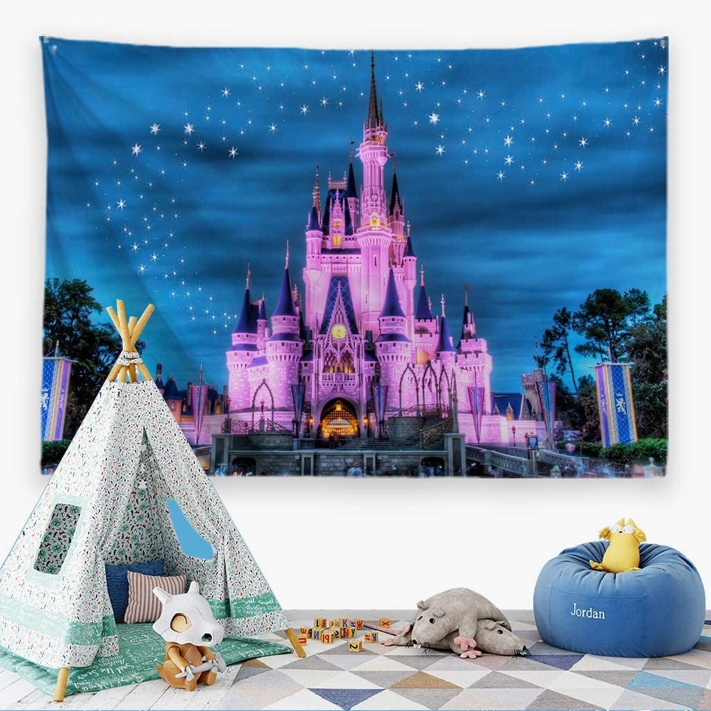 """Ortigia Tapestry Wall Hanging for Kids Children Home Decor for Bedroom, Kids Room, Living Room,Classroom,Dorm Polyester Fabric Needles Included- 80"""" W x 60"""" L (200cmx150cm)-Fancy Castle"""
