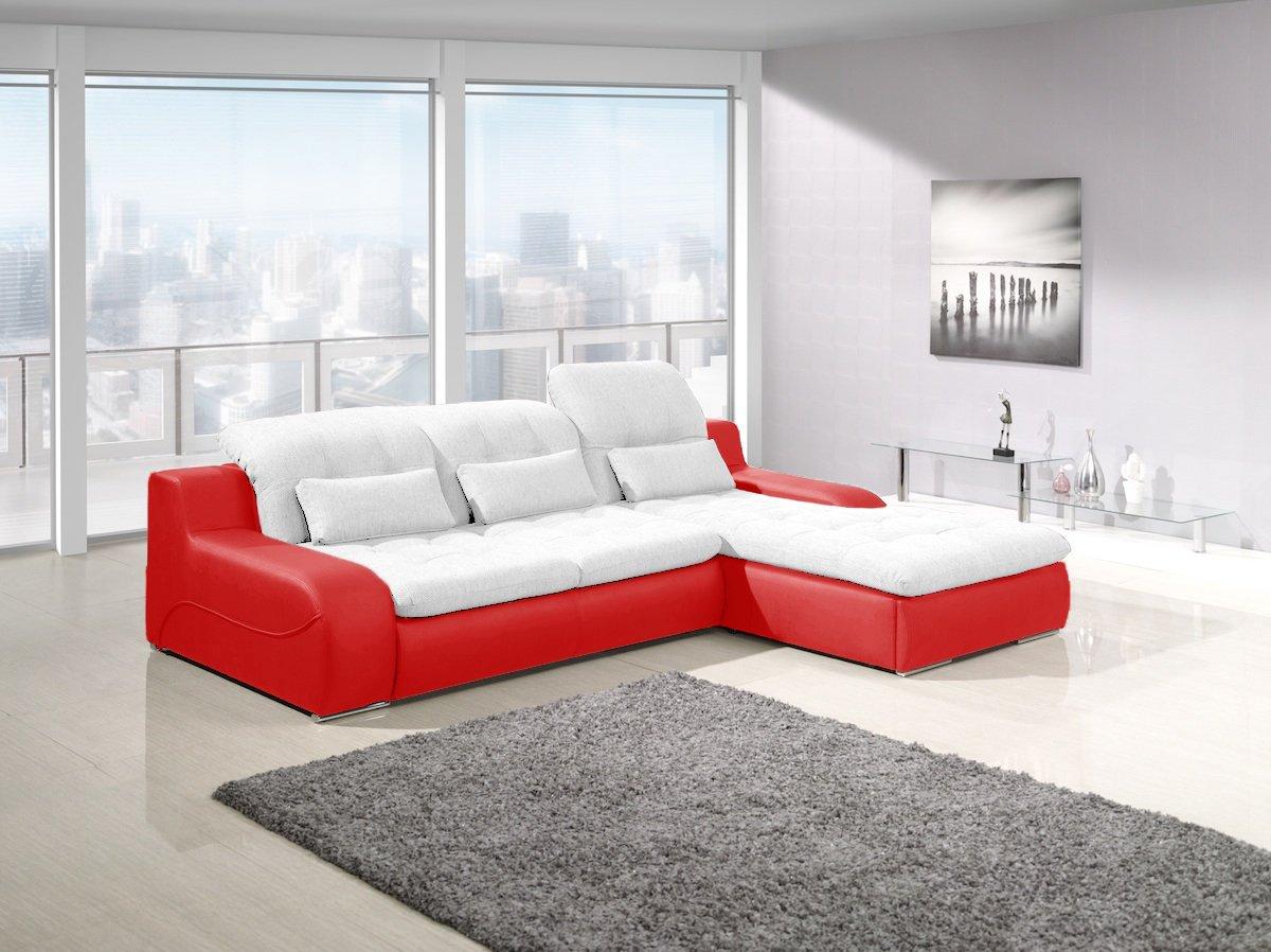 BAVARIA Weiß-Rot Schlaf Sofa Couch Eckgarnitur polstergarnitur mit Bettkasten, Schlaffunktion Groß XXL Sofabett Couchbett Ottomane, kunstleder/ Stoff