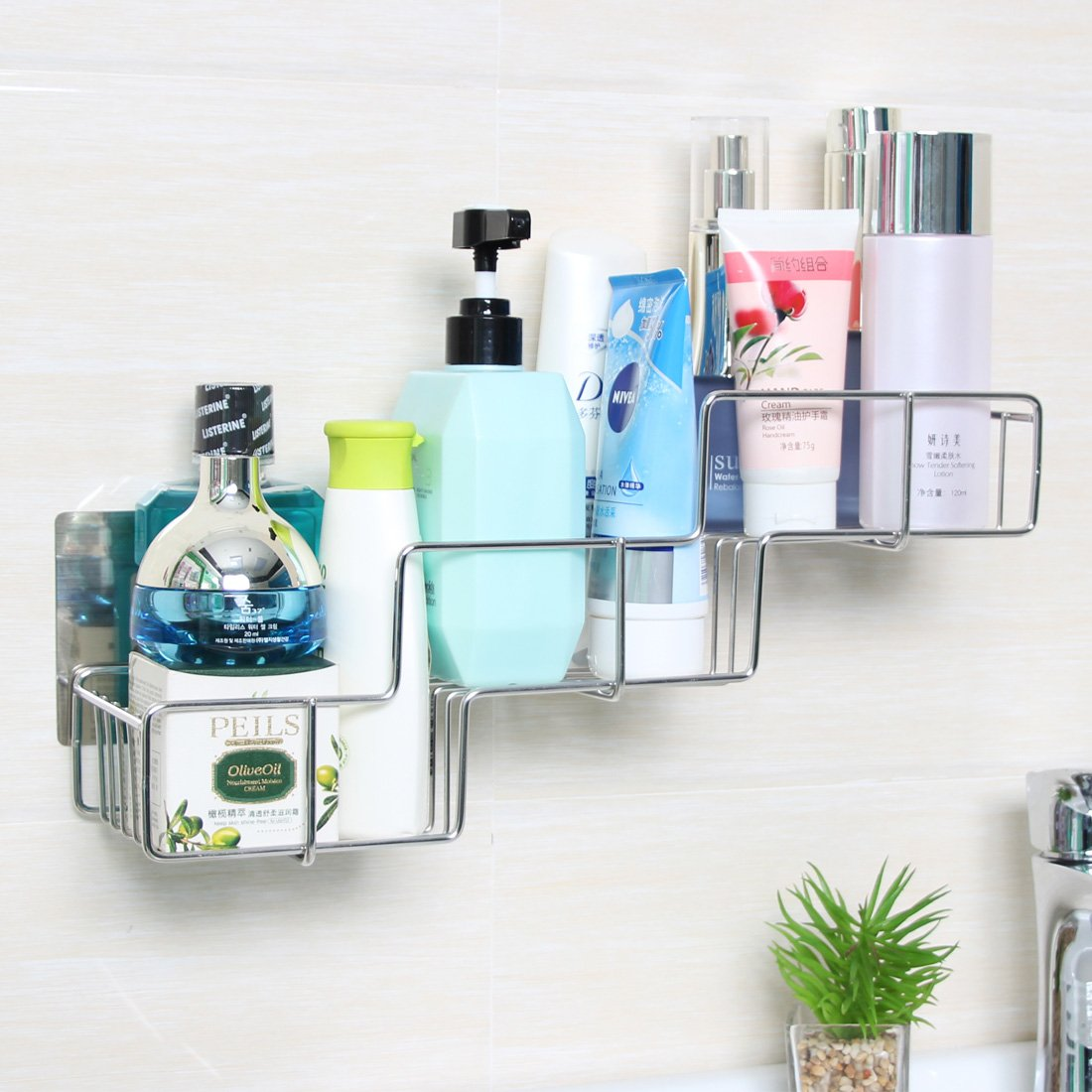 Stainless Steel Shelf Organizer, Rerii Self Adhesive Stainless Steel ...