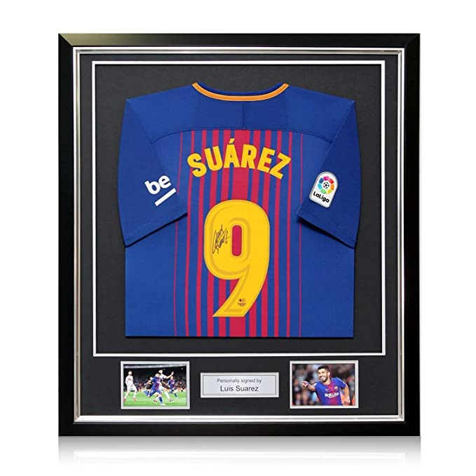 Luis Suarez Signed Barcelona 2017-18 Football Shirt In Deluxe Frame ...