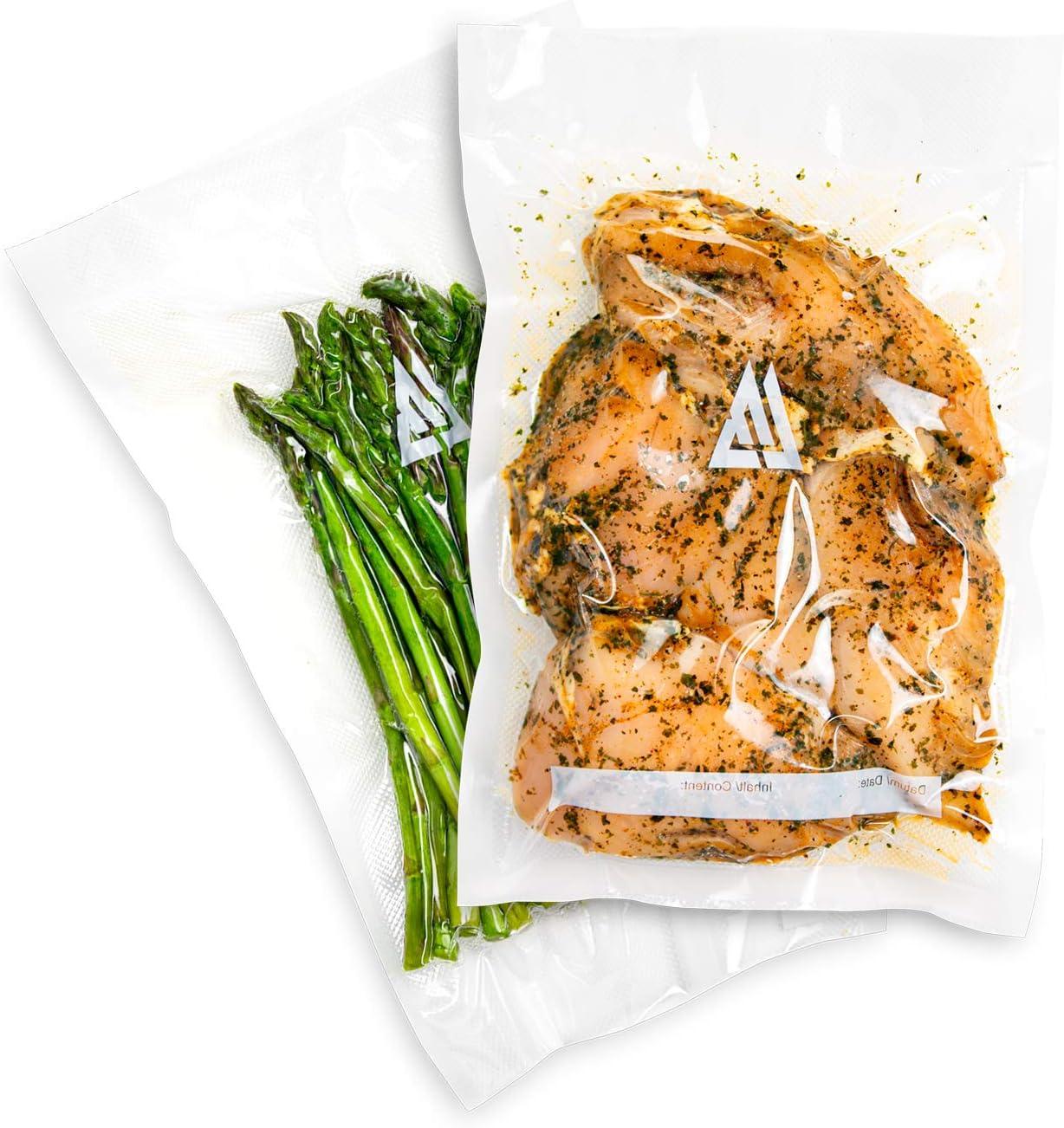 LivBettr Vacuum Sealer Bags for Food 8 x 12 inch, Sous Vide Bags, Vacuum Seal Food Storage Bag, Pre Cut BPA Free Food Grade, Freezer and Microwave Safe, Premium Quality, 100 Count