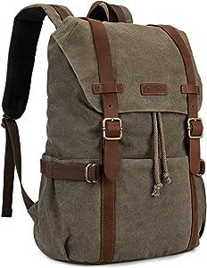 Kattee Canvas Leather Backpack Hiking Backpack Travel Rucksack School Bag