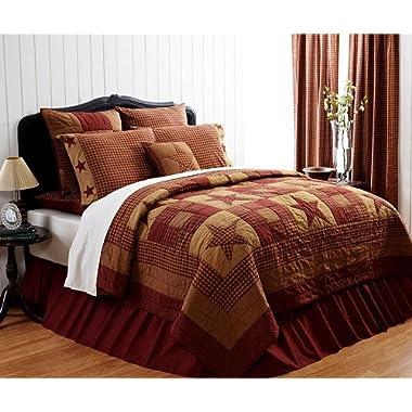 4pc Ninepatch Star Quilted Queen Quilt Bedding Set 2 Shams 1 Star Pillow 4 Piece Set (Queen)
