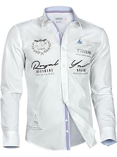 Trisens – Camisa de hombre de algodón, de manga larga, con motivos bordados,