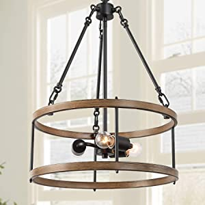 """ISURAUL Drum Chandelier, Farmhouse Chandelier for Dining Rooms, 16"""" 3-Lights Rustic Chandeliers Lighting for Dining Room, Living Room and Entryway"""