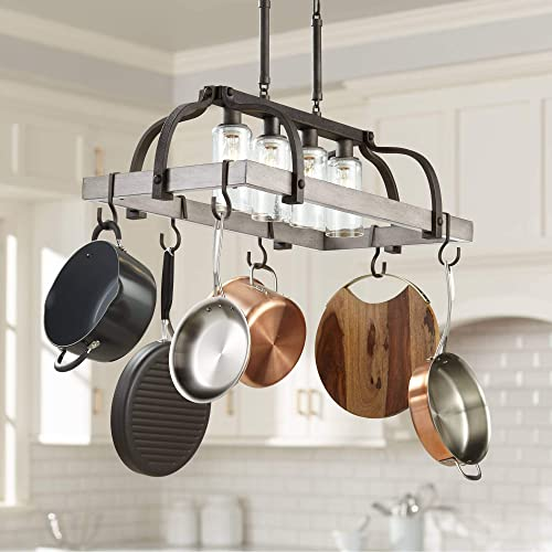 Marsden Bronze Gray Wood Rectangular Pot Rack Pendant Chandelier 36″ Wide Rustic Farmhouse Clear Seedy Glass 4-Light Fixture