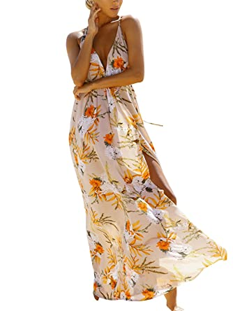 1e7cec43d4 Simplee Womens Sexy Deep V Neck Long Maxi Dress Summer Beach Casual Chiffon Floral  Print High