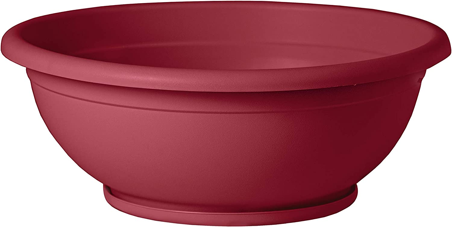 TABOR TOOLS VEN304 Plastic Planter Bowl, Garden Bowl with Attached Drainage Tray, for Indoor and Outdoor Use, Round Ø 12 Inch (Color: Dark Red)