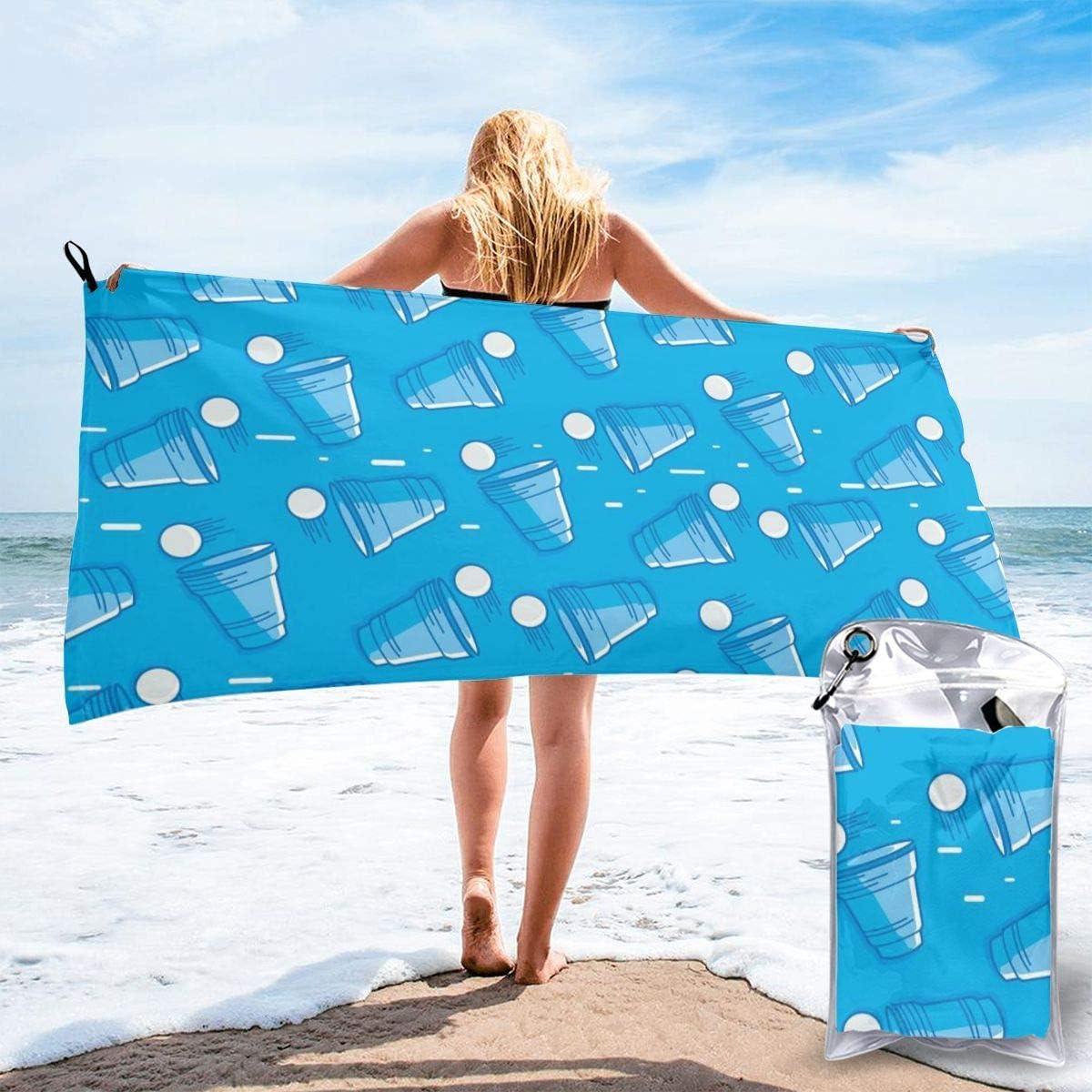 YYRR Toallas de baño de Microfibra de Viaje Grande - Nadadores Toalla súper Absorbente Ligera - Patrón de Vector de Cerveza Ping-Pong Toalla de Playa de Secado rápido para Camping, Senderismo y Uso d