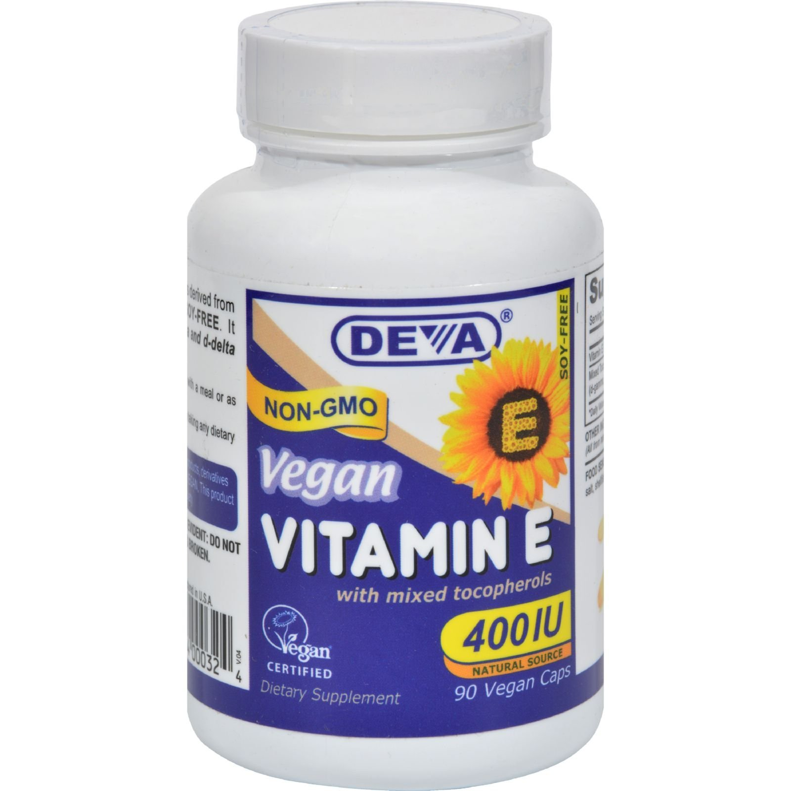 Deva Vegan Vitamins Natural Vitamin E 400iu with Mixed Tocopherols, 90-Count by Deva Vegan Vitamins